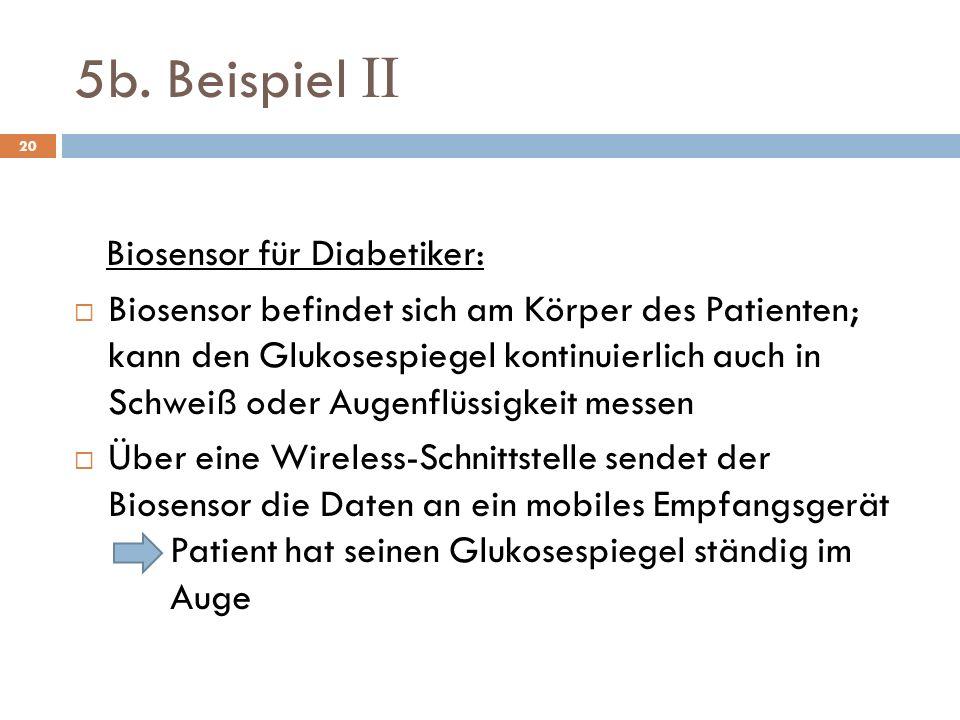 5b. Beispiel II Biosensor für Diabetiker: Biosensor befindet sich am Körper des Patienten; kann den Glukosespiegel kontinuierlich auch in Schweiß oder