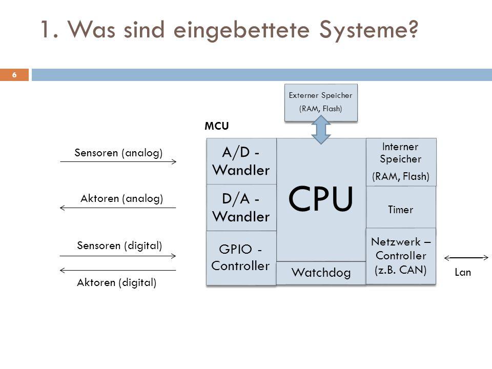 1. Was sind eingebettete Systeme? CPU Externer Speicher (RAM, Flash) Externer Speicher (RAM, Flash) A/D - Wandler D/A - Wandler GPIO - Controller Watc