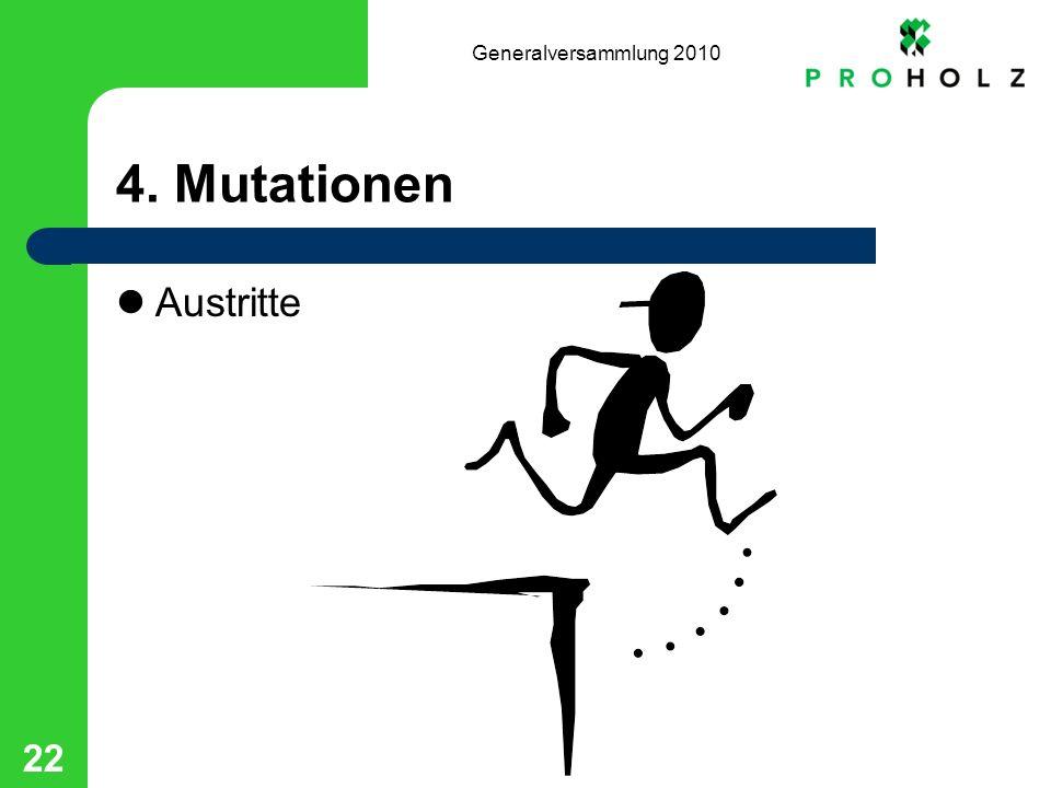 Generalversammlung 2010 22 4. Mutationen Austritte