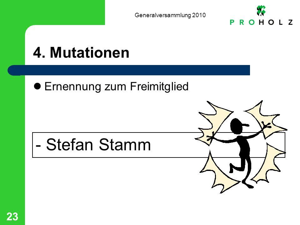 Generalversammlung 2010 23 4. Mutationen Ernennung zum Freimitglied - Stefan Stamm