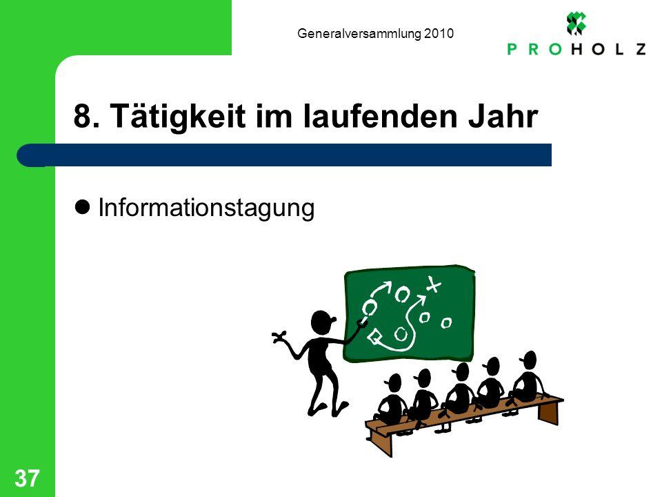 Generalversammlung 2010 37 8. Tätigkeit im laufenden Jahr Informationstagung