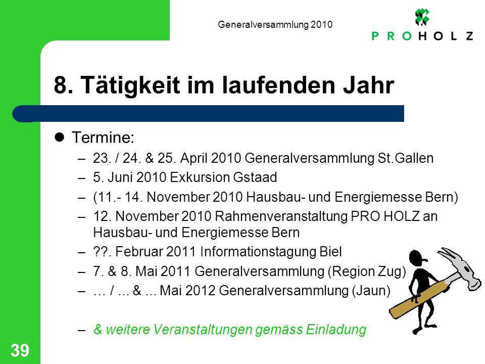 Generalversammlung 2010 39 8. Tätigkeit im laufenden Jahr Termine: –23.