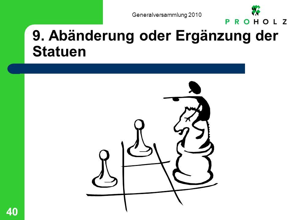 Generalversammlung 2010 40 9. Abänderung oder Ergänzung der Statuen