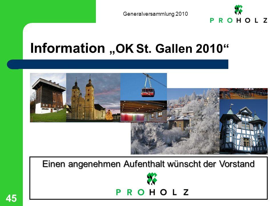 Generalversammlung 2010 45 Information OK St.