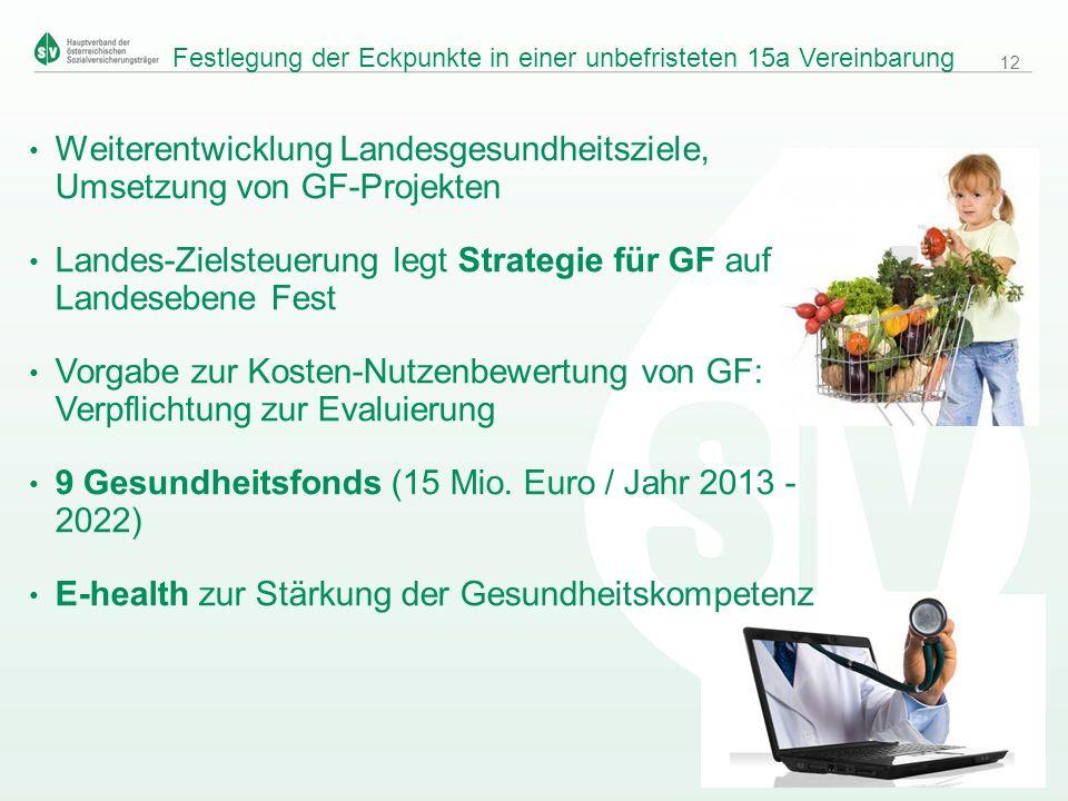 © Hauptverband /GB3, Februar 2013 Weiterentwicklung Landesgesundheitsziele, Umsetzung von GF-Projekten Landes-Zielsteuerung legt Strategie für GF auf