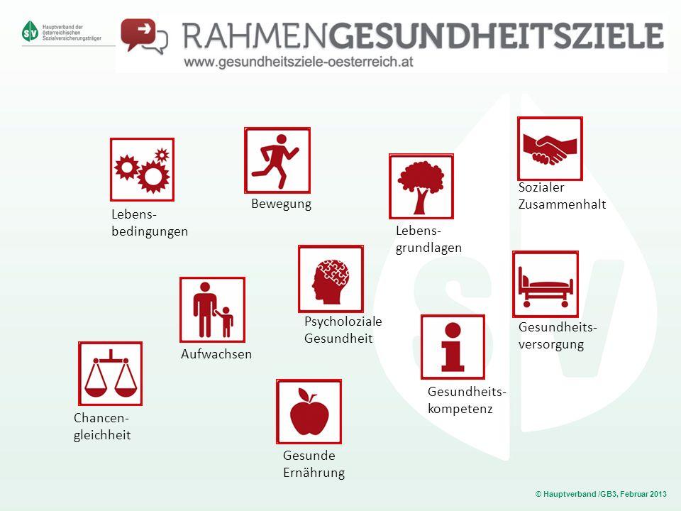 © Hauptverband /GB3, Februar 2013 Lebens- bedingungen Chancen- gleichheit Gesundheits- kompetenz Lebens- grundlagen Sozialer Zusammenhalt Aufwachsen G