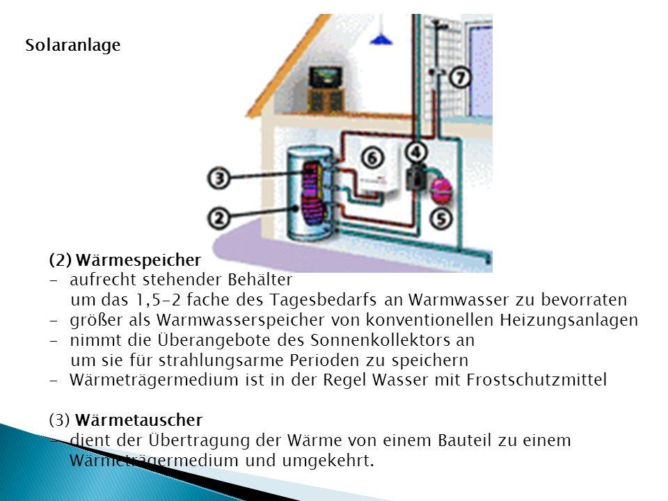 (2) Wärmespeicher -aufrecht stehender Behälter um das 1,5-2 fache des Tagesbedarfs an Warmwasser zu bevorraten -größer als Warmwasserspeicher von konv