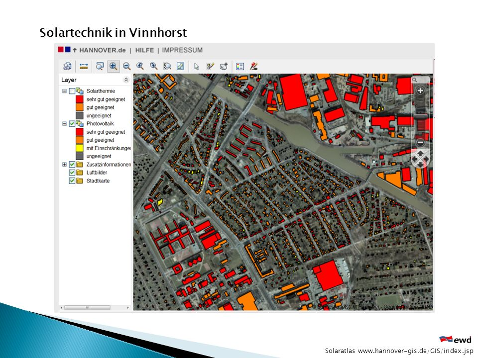 Solaratlas www.hannover-gis.de/GIS/index.jsp Solartechnik in Vinnhorst