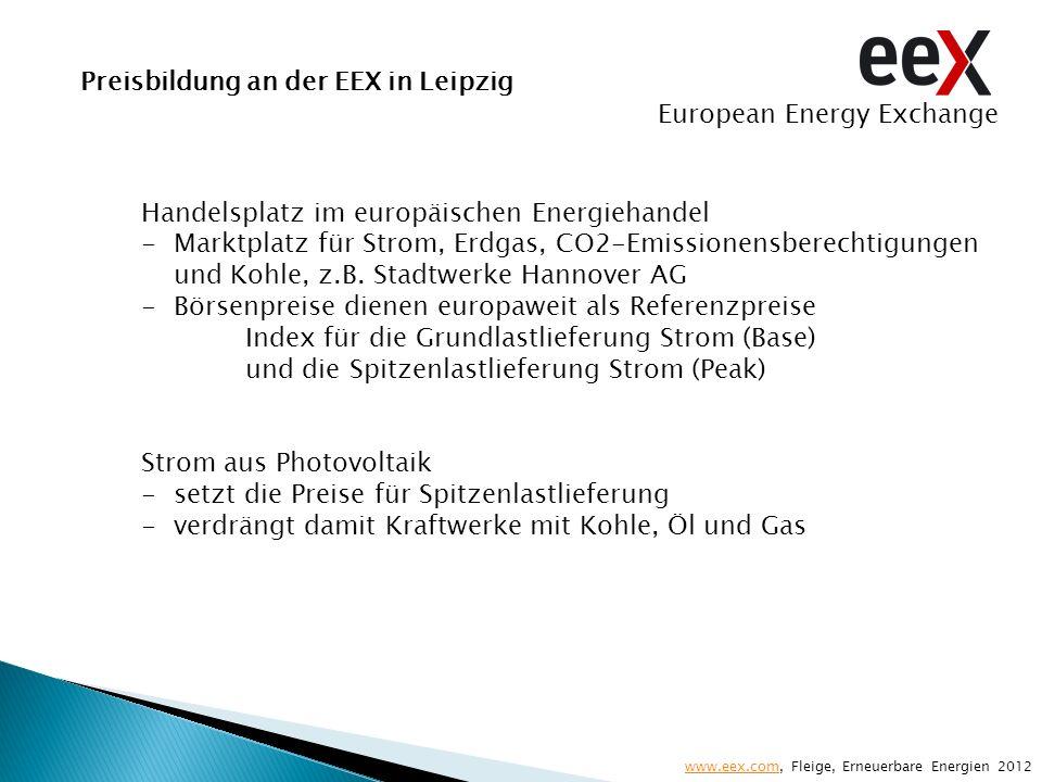 Preisbildung an der EEX in Leipzig Handelsplatz im europäischen Energiehandel -Marktplatz für Strom, Erdgas, CO2-Emissionensberechtigungen und Kohle,
