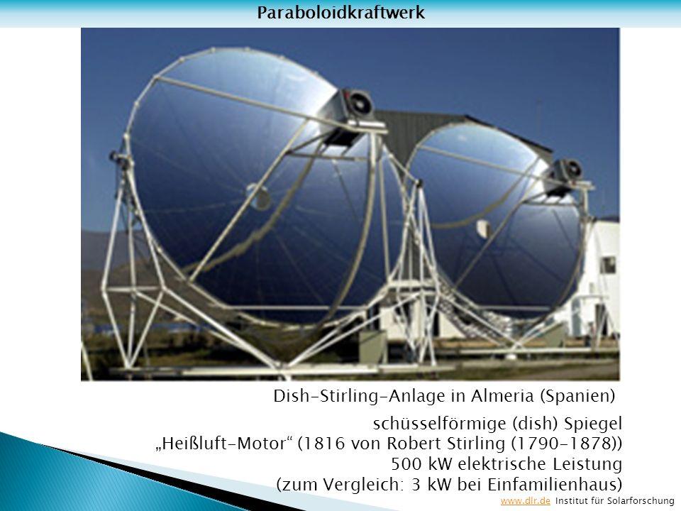 Dish-Stirling-Anlage in Almeria (Spanien) schüsselförmige (dish) Spiegel Heißluft-Motor (1816 von Robert Stirling (1790-1878)) 500 kW elektrische Leis