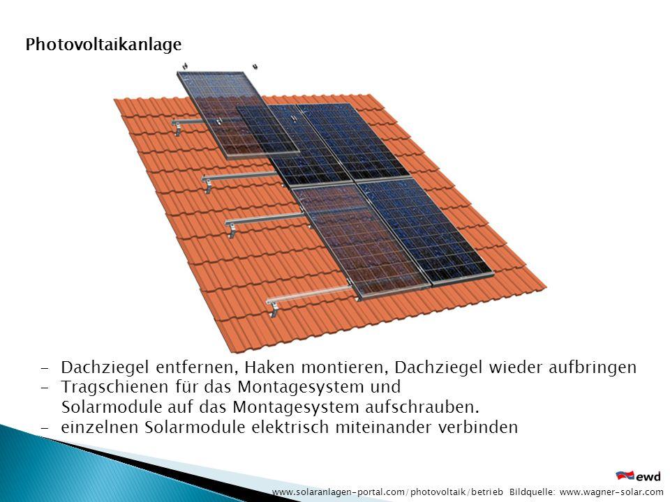 -Dachziegel entfernen, Haken montieren, Dachziegel wieder aufbringen -Tragschienen für das Montagesystem und Solarmodule auf das Montagesystem aufschr