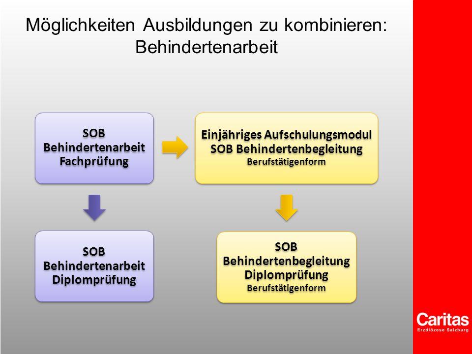 Möglichkeiten Ausbildungen zu kombinieren: Behindertenarbeit SOB Behindertenarbeit Fachprüfung SOB Behindertenarbeit Diplomprüfung Einjähriges Aufschu