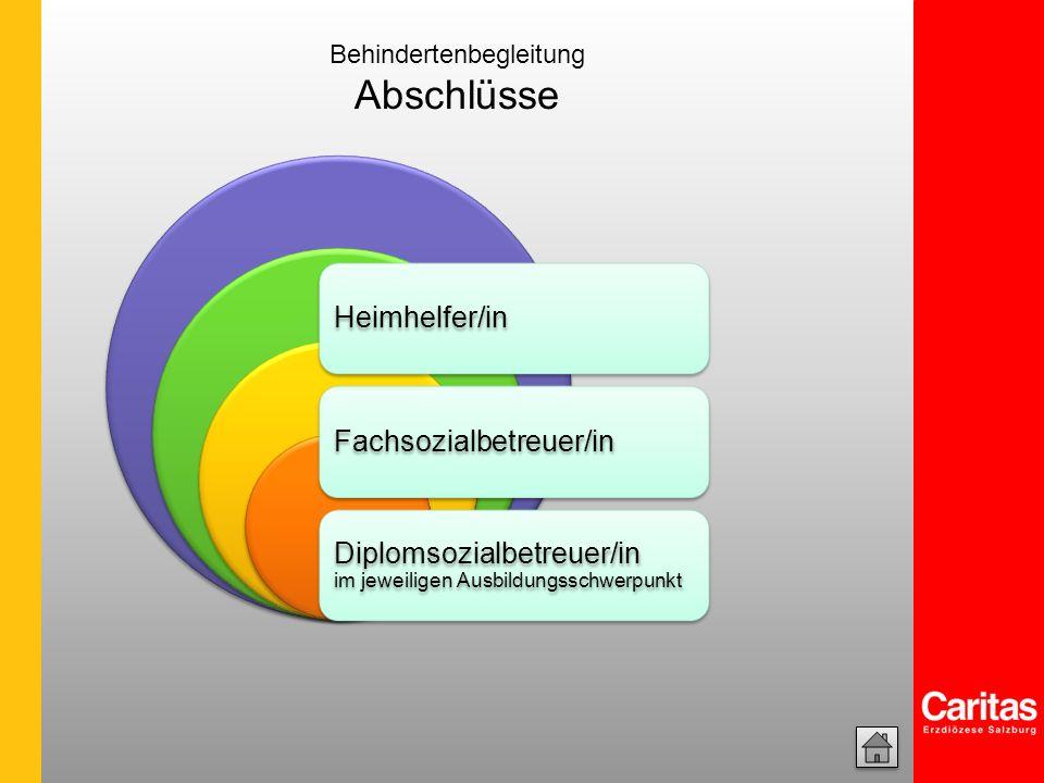 Heimhelfer/in Diplomsozialbetreuer/in im jeweiligen Ausbildungsschwerpunkt Fachsozialbetreuer/in Behindertenbegleitung Abschlüsse