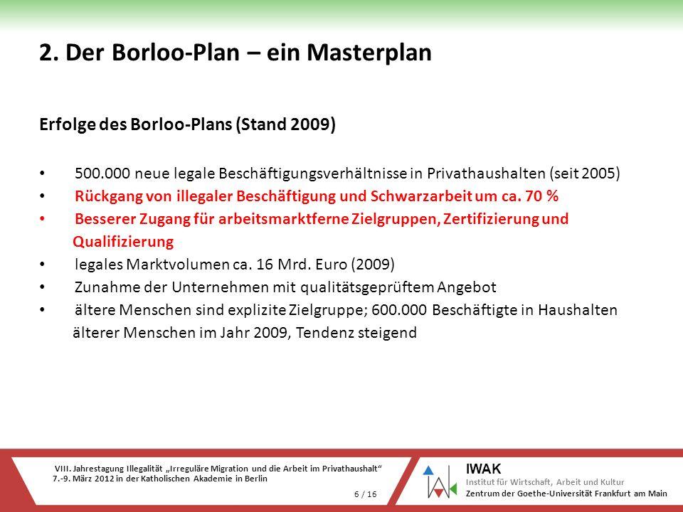 VIII. Jahrestagung Illegalität Irreguläre Migration und die Arbeit im Privathaushalt 7.-9. März 2012 in der Katholischen Akademie in Berlin 6 / 16 IWA