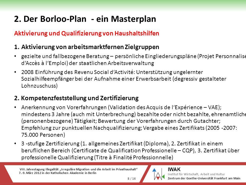 VIII. Jahrestagung Illegalität Irreguläre Migration und die Arbeit im Privathaushalt 7.-9. März 2012 in der Katholischen Akademie in Berlin 8 / 16 IWA
