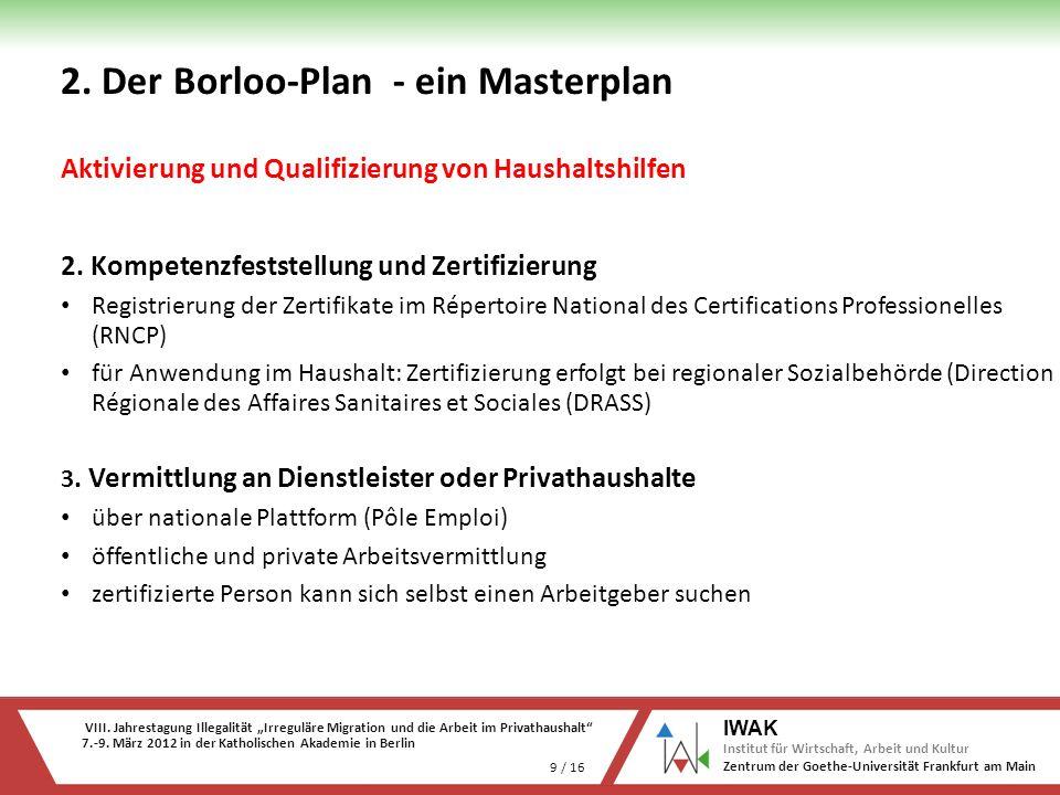VIII. Jahrestagung Illegalität Irreguläre Migration und die Arbeit im Privathaushalt 7.-9. März 2012 in der Katholischen Akademie in Berlin 9 / 16 IWA