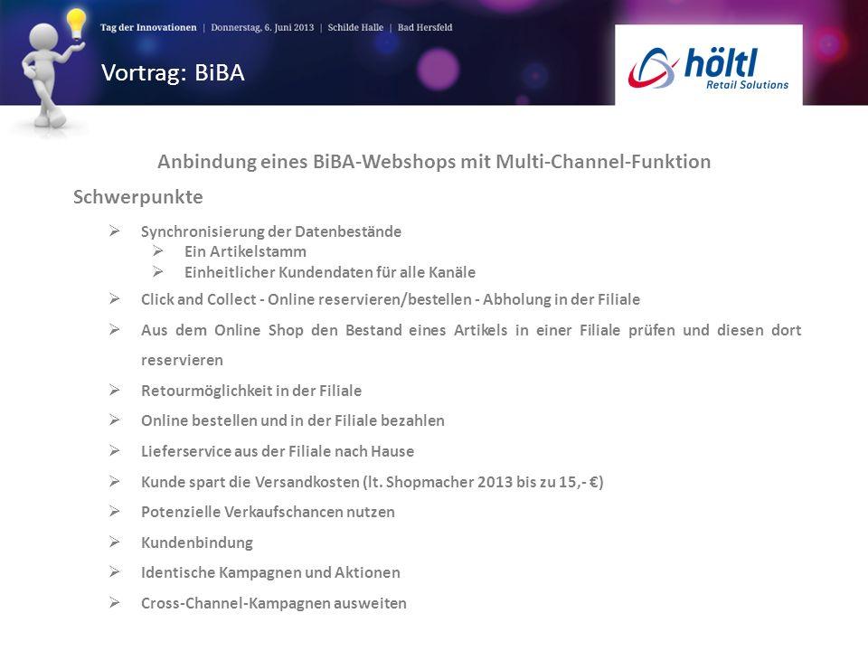 Vortrag: BiBA Anbindung eines BiBA-Webshops mit Multi-Channel-Funktion Schwerpunkte Synchronisierung der Datenbestände Ein Artikelstamm Einheitlicher