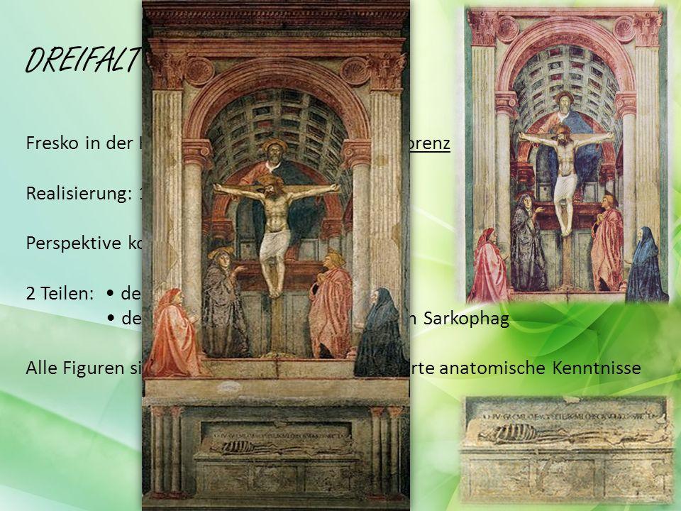 DREIFALTIGKEIT Fresko in der Kirche Santa Maria Novella in Florenz Realisierung: 1425-1428 Perspektive korrekt angewandt 2 Teilen: der obere Teil Jesus der untere Teil Skelett auf einem Sarkophag Alle Figuren sind herb realistisch detaillierte anatomische Kenntnisse
