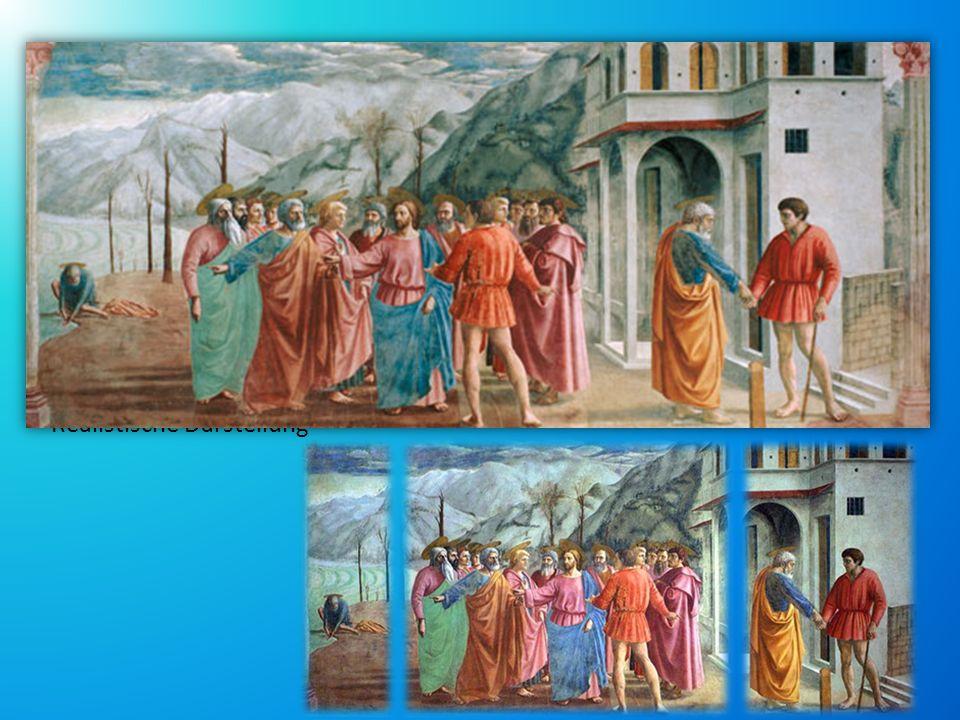 DER ZINSGROSCHEN Fresko, Bestandteil des Freskenzyklus in der Brancacci-Kapelle Realisierung: 1425-1428 Meisterwerk Die Szene: Bibelastelle, Matthäus-Evangelium in 3 Szenen geteilt Realistische Darstellung