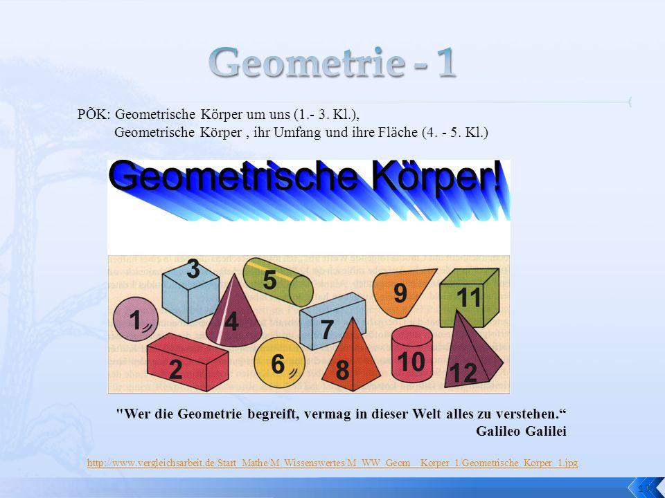 13 PÕK: Geometrische K ö rper um uns (1.- 3. Kl.), Geometrische Körper, ihr Umfang und ihre Fl ä che (4. - 5. Kl.)