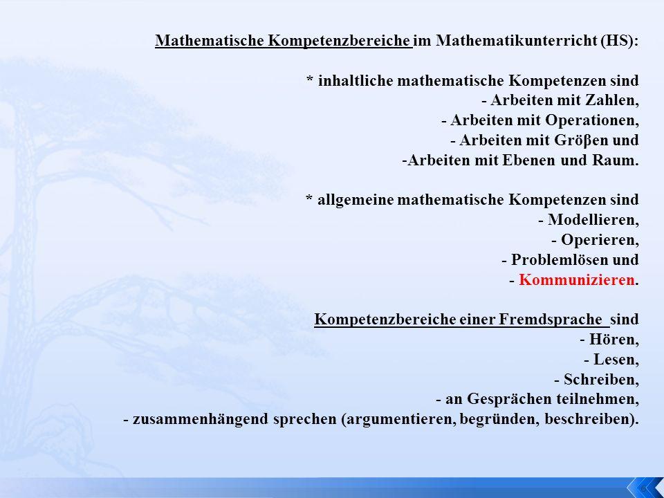 6 Mathematische Kompetenzbereiche im Mathematikunterricht (HS): * inhaltliche mathematische Kompetenzen sind - Arbeiten mit Zahlen, - Arbeiten mit Ope