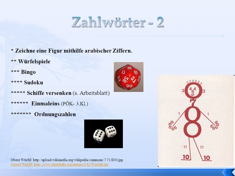 8 * Zeichne eine Figur mithilfe arabischer Ziffern. ** Würfelspiele *** Bingo **** Sudoku ***** Schiffe versenken (s. Arbeitsblatt) ****** Einmaleins