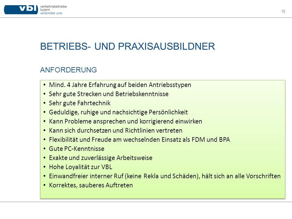 BETRIEBS- UND PRAXISAUSBILDNER 18 ANFORDERUNG