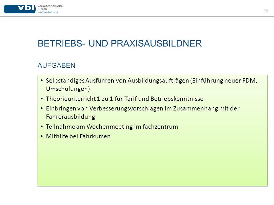 BETRIEBS- UND PRAXISAUSBILDNER 19 AUFGABEN