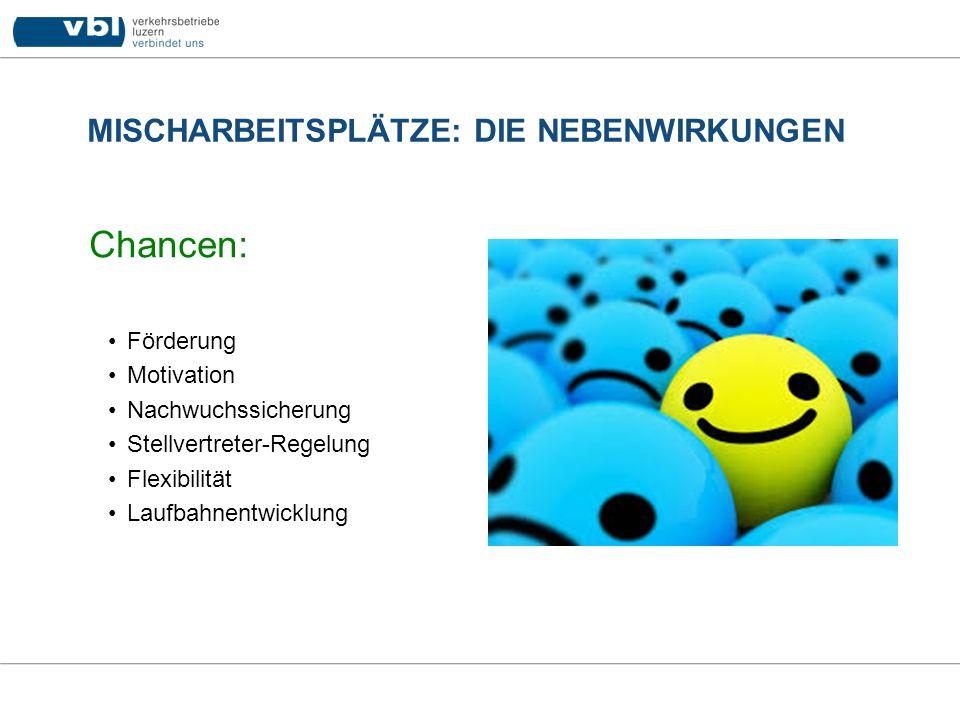 MISCHARBEITSPLÄTZE: DIE NEBENWIRKUNGEN Chancen: Förderung Motivation Nachwuchssicherung Stellvertreter-Regelung Flexibilität Laufbahnentwicklung
