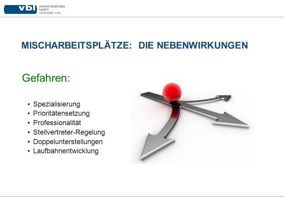 MISCHARBEITSPLÄTZE: DIE NEBENWIRKUNGEN Gefahren: Spezialisierung Prioritätensetzung Professionalität Stellvertreter-Regelung Doppelunterstellungen Lau
