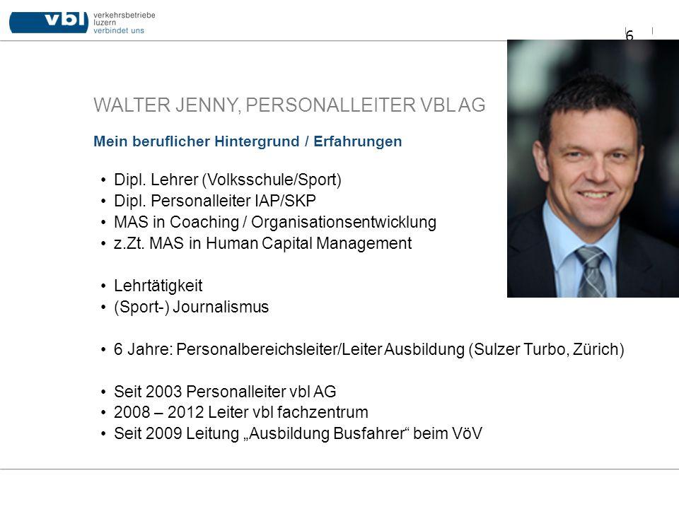 WALTER JENNY, PERSONALLEITER VBL AG Dipl. Lehrer (Volksschule/Sport) Dipl. Personalleiter IAP/SKP MAS in Coaching / Organisationsentwicklung z.Zt. MAS
