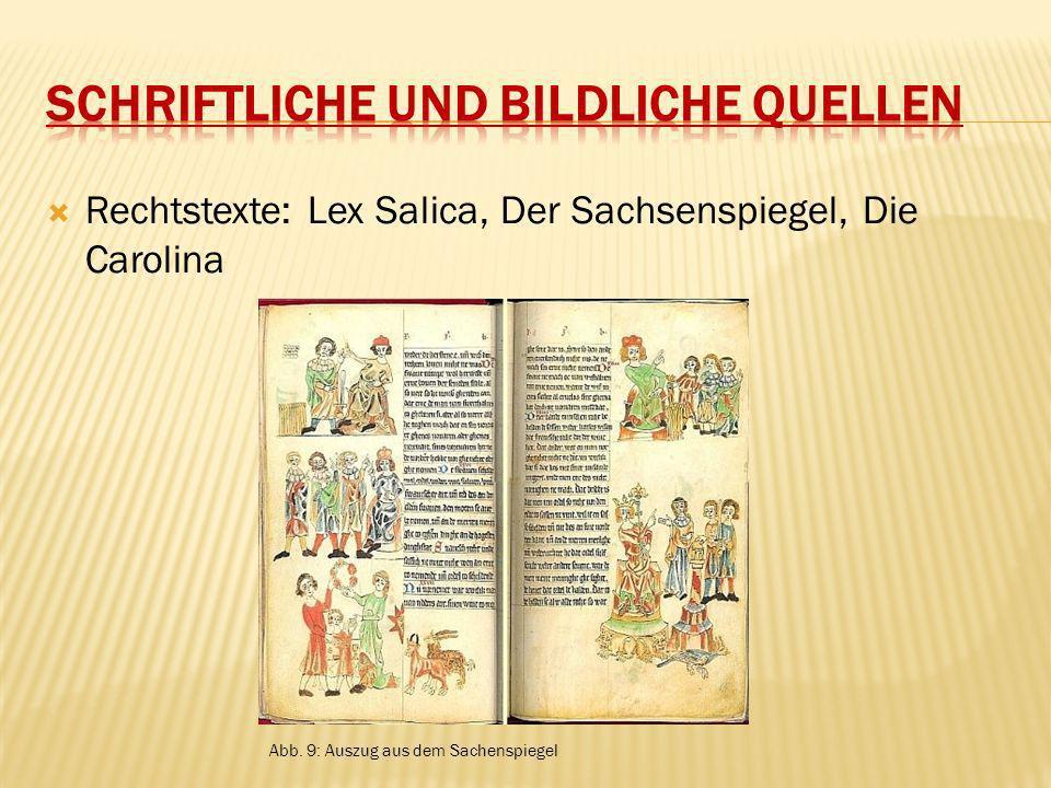 Rechtstexte: Lex Salica, Der Sachsenspiegel, Die Carolina Abb. 9: Auszug aus dem Sachenspiegel