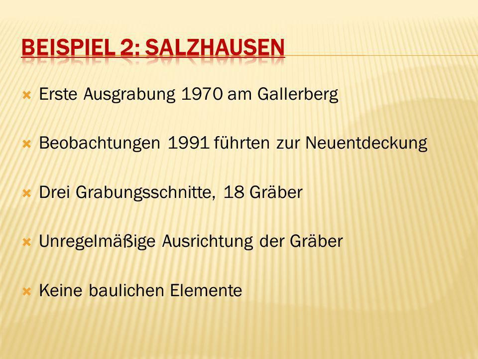 Erste Ausgrabung 1970 am Gallerberg Beobachtungen 1991 führten zur Neuentdeckung Drei Grabungsschnitte, 18 Gräber Unregelmäßige Ausrichtung der Gräber