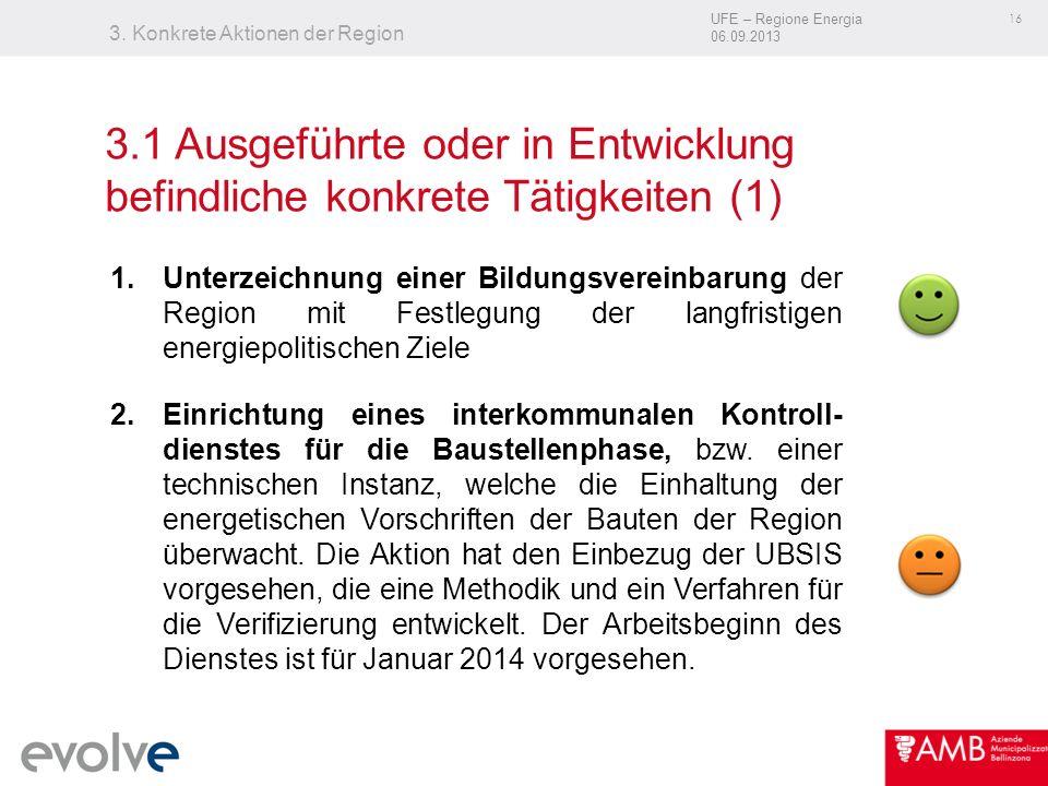 UFE – Regione Energia 06.09.2013 16 3. Konkrete Aktionen der Region 1.Unterzeichnung einer Bildungsvereinbarung der Region mit Festlegung der langfris