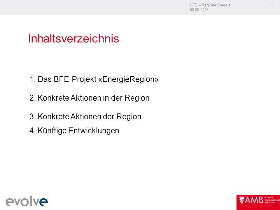 UFE – Regione Energia 06.09.2013 2 Inhaltsverzeichnis 1.Das BFE-Projekt «EnergieRegion» 2.Konkrete Aktionen in der Region 3.Konkrete Aktionen der Region 4.Künftige Entwicklungen