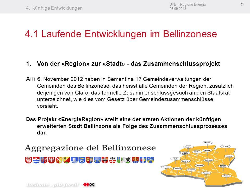 UFE – Regione Energia 06.09.2013 23 4. Künftige Entwicklungen 4.1 Laufende Entwicklungen im Bellinzonese 1.Von der «Region» zur «Stadt» - das Zusammen
