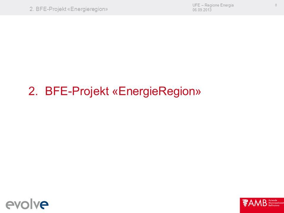 UFE – Regione Energia 06.09.2013 8 2. BFE-Projekt «Energieregion» 2. BFE-Projekt «EnergieRegion»