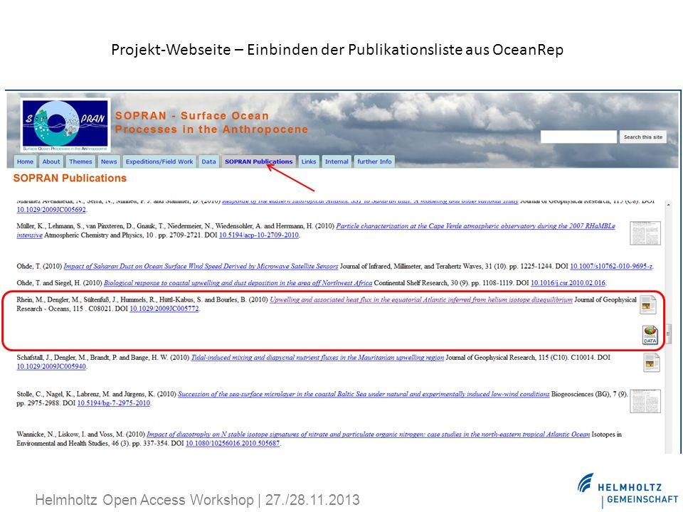 Projekt-Webseite – Einbinden der Publikationsliste aus OceanRep Helmholtz Open Access Workshop | 27./28.11.2013