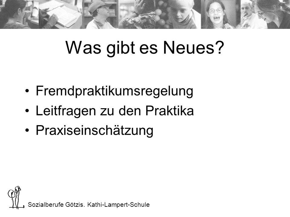 Sozialberufe Götzis. Kathi-Lampert-Schule Was gibt es Neues? Fremdpraktikumsregelung Leitfragen zu den Praktika Praxiseinschätzung