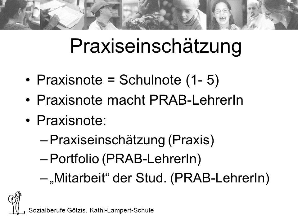 Sozialberufe Götzis. Kathi-Lampert-Schule Praxisnote = Schulnote (1- 5) Praxisnote macht PRAB-LehrerIn Praxisnote: –Praxiseinschätzung (Praxis) –Portf