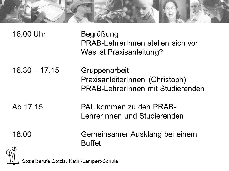 Sozialberufe Götzis. Kathi-Lampert-Schule 16.00 UhrBegrüßung PRAB-LehrerInnen stellen sich vor Was ist Praxisanleitung? 16.30 – 17.15Gruppenarbeit Pra