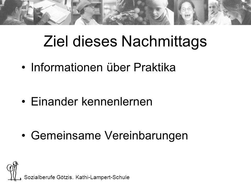 Sozialberufe Götzis. Kathi-Lampert-Schule Ziel dieses Nachmittags Informationen über Praktika Einander kennenlernen Gemeinsame Vereinbarungen