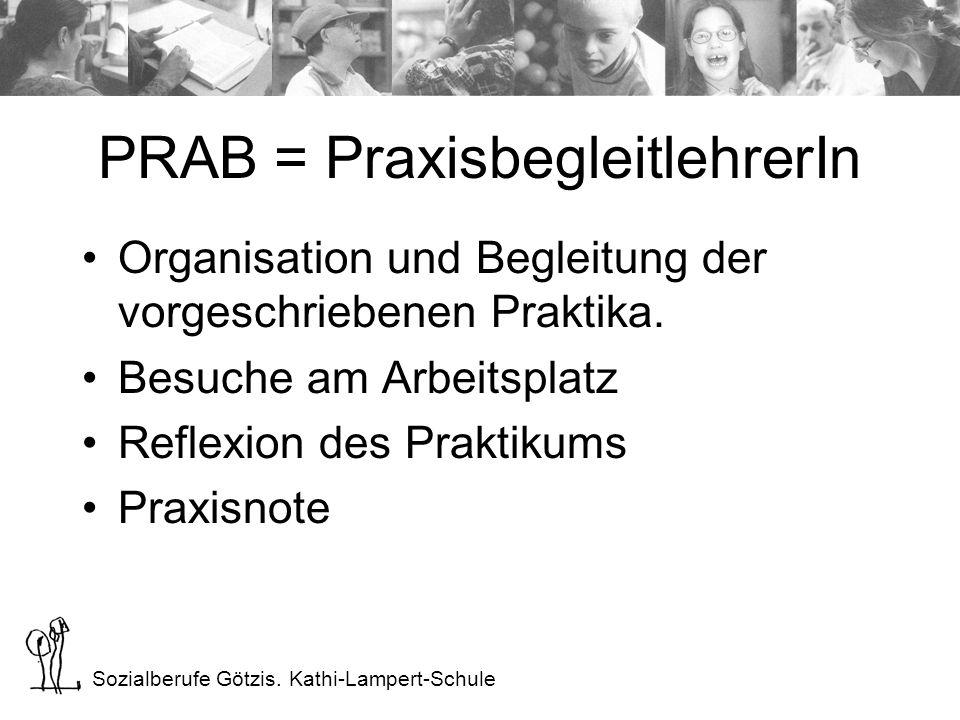 Sozialberufe Götzis. Kathi-Lampert-Schule PRAB = PraxisbegleitlehrerIn Organisation und Begleitung der vorgeschriebenen Praktika. Besuche am Arbeitspl