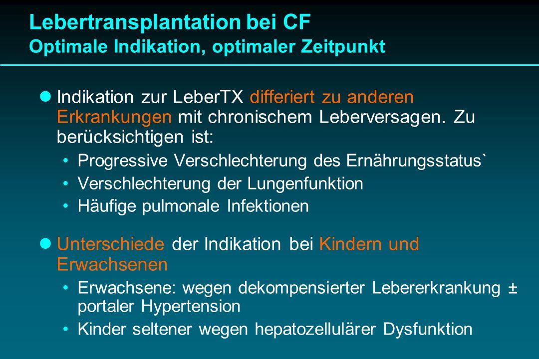 Indikation zur LeberTX differiert zu anderen Erkrankungen mit chronischem Leberversagen. Zu berücksichtigen ist: Progressive Verschlechterung des Ernä