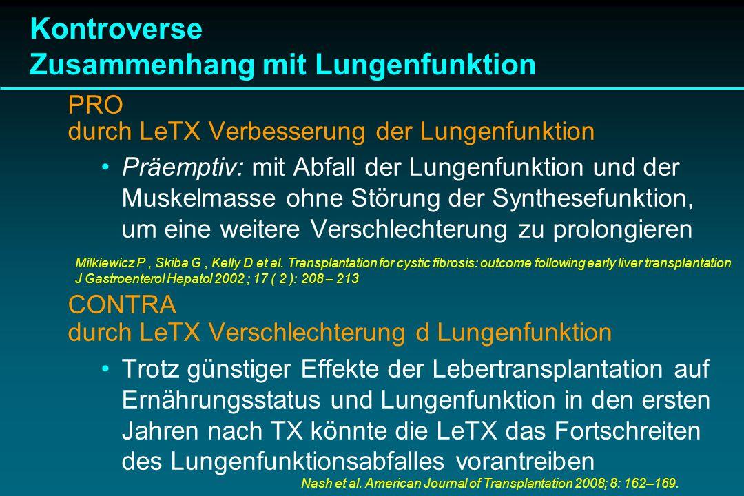 Kontroverse Zusammenhang mit Lungenfunktion PRO durch LeTX Verbesserung der Lungenfunktion Präemptiv: mit Abfall der Lungenfunktion und der Muskelmass