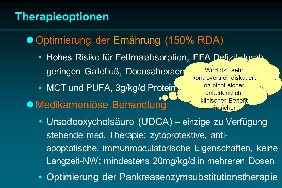 Therapieoptionen Optimierung der Ernährung (150% RDA) Hohes Risiko für Fettmalabsorption, EFA Defizit durch geringen Gallefluß, Docosahexaensäure (DHA