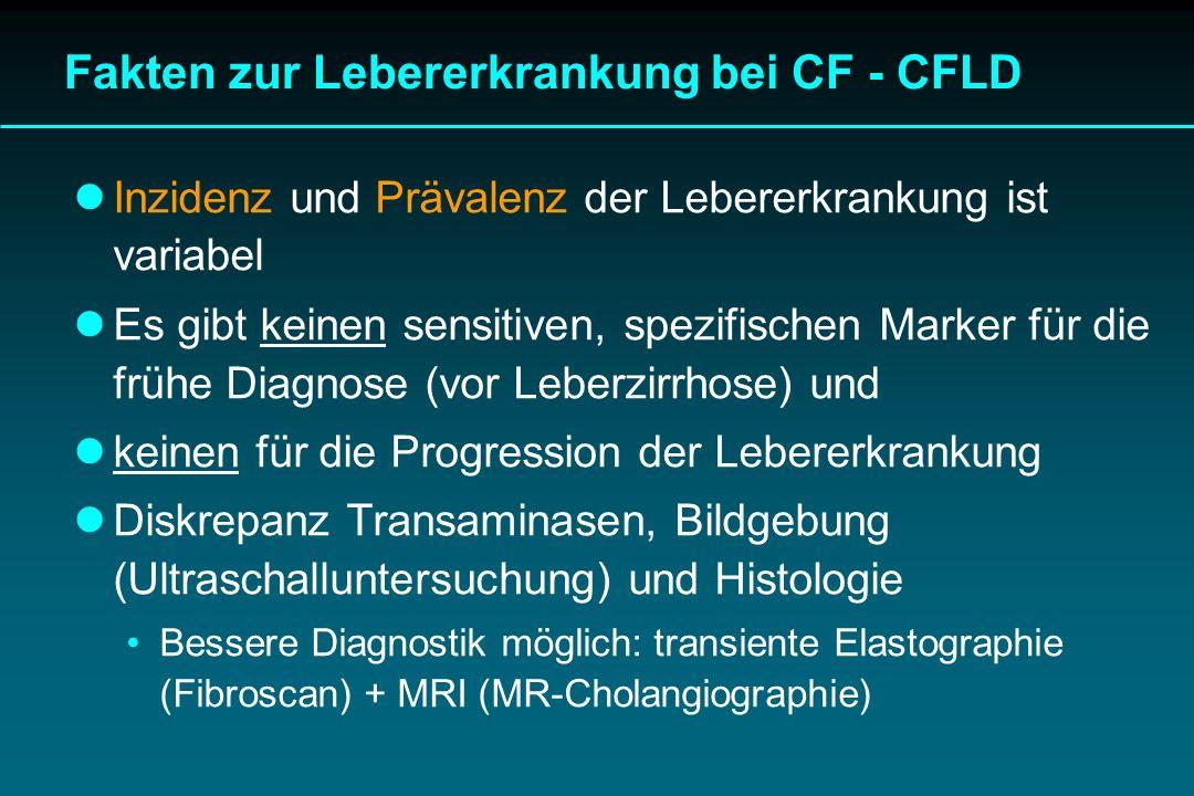 Lebererkrankung, Lebertransplantation bei CF CFLD ist Marker für schwere Verlaufsform der CF Jährliches Screening und Monitoring Abklärungsbeginn bei allen in der ersten Dekade Optimierung der pulmonalen Behandlung Differenziertes Vorgehen bei Kindern und Erwachsenen Behandlung des katabolen Status, der portalen Hypertension Lebertransplantation ist eine effektive Behandlungsform bei dekompensierter CFLD (Hepatozelluäre Dysfunktion) LeberTX verändert nicht den Lauf der Lungenfunktion CFLD ist keine (!) Kontraindikation für Lungentransplantation Abklärung der Leberfunktion vor Lungen-TX
