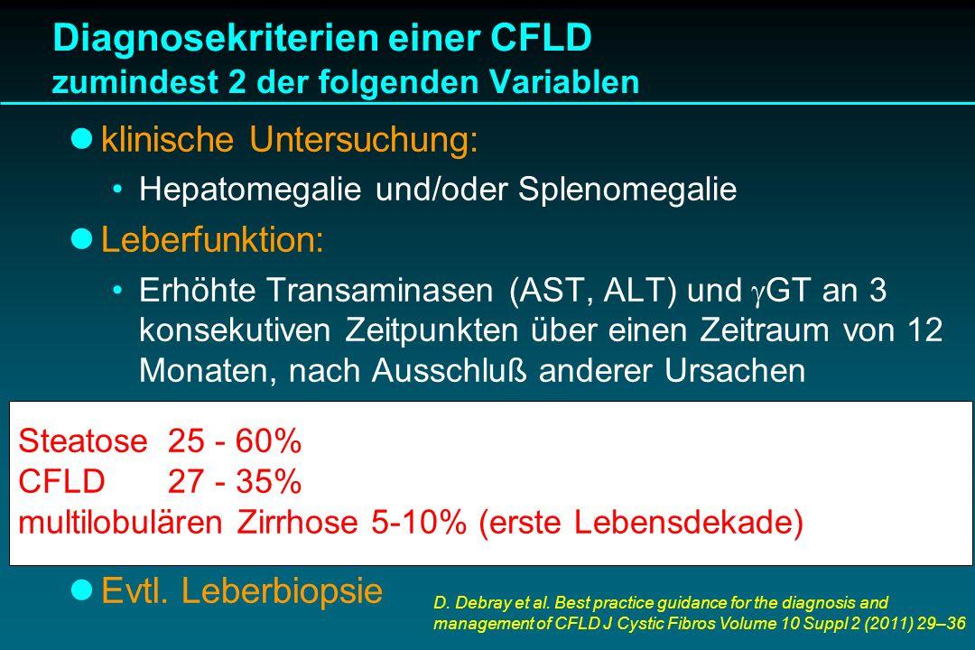 Diagnosekriterien einer CFLD zumindest 2 der folgenden Variablen klinische Untersuchung: Hepatomegalie und/oder Splenomegalie Leberfunktion: Erhöhte T