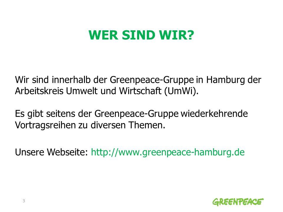 WER SIND WIR? Wir sind innerhalb der Greenpeace-Gruppe in Hamburg der Arbeitskreis Umwelt und Wirtschaft (UmWi). Es gibt seitens der Greenpeace-Gruppe