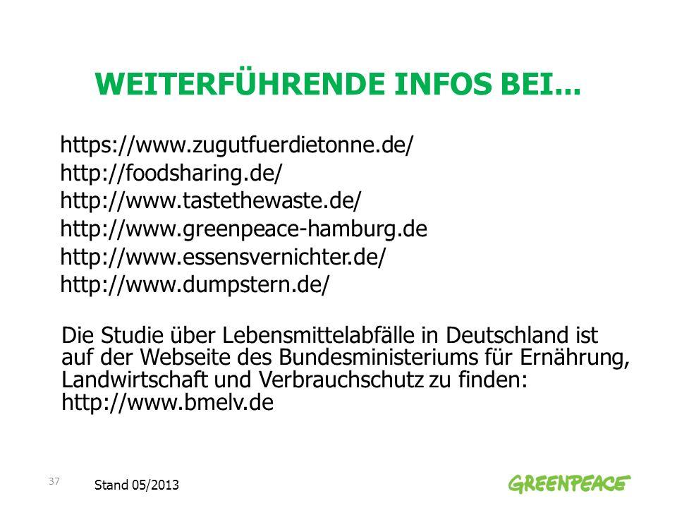 WEITERFÜHRENDE INFOS BEI... https://www.zugutfuerdietonne.de/ http://foodsharing.de/ http://www.tastethewaste.de/ http://www.greenpeace-hamburg.de htt